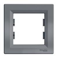 Рамка 1-х местная горизонтальная сталь Sсhneider Eleсtriс Asfora Шнайдер электрик Асфора