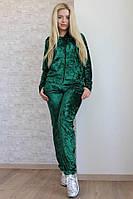 """Бархатный женский спортивный костюм """"Muare"""" с капюшоном (4 цвета)"""