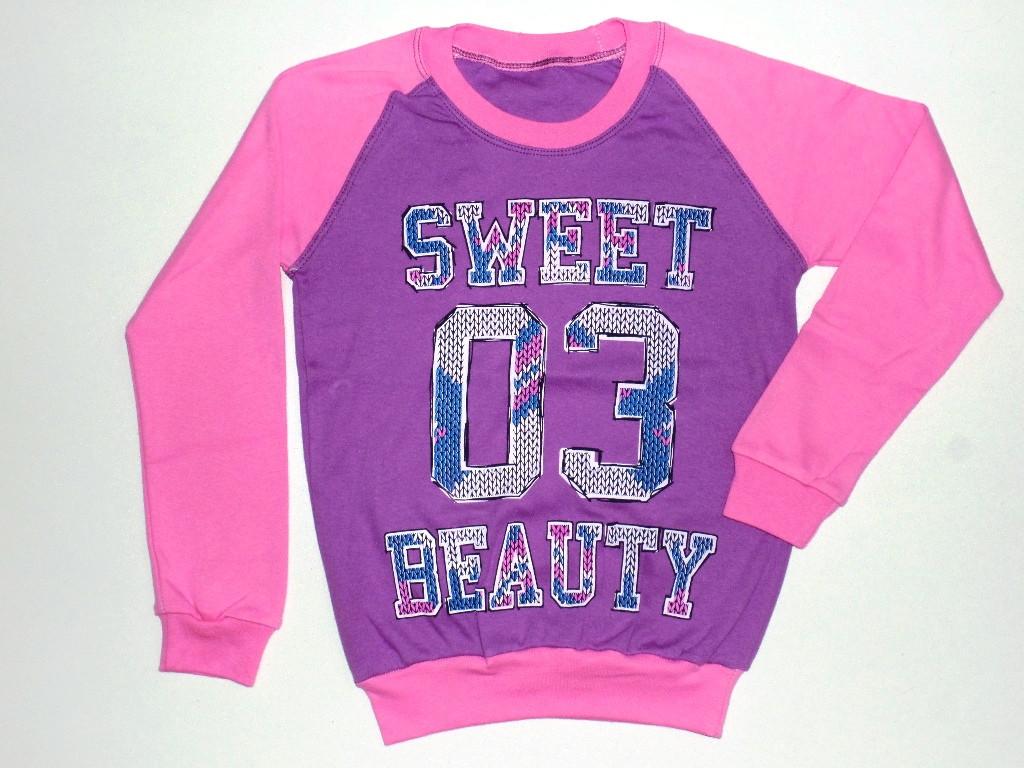 """Детский реглан  для девочек """"Sweet"""" 8 лет рост от 116 до 122 см 100% хлопок"""