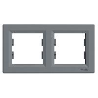 Рамка 2-х местная горизонтальная сталь Sсhneider Eleсtriс Asfora Шнайдер электрик Асфора
