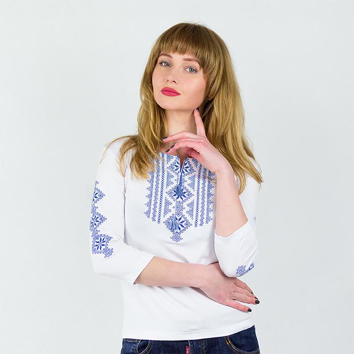 Лонгслив Нежность белый с синей вышивкой