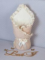 """Детский конверт-одеяло на выписку """"Ажур"""", капучино, Д/С, фото 1"""