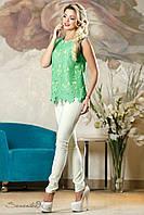 Нарядная летняя блузка из хлопка, без рукавов, размеры 44-50