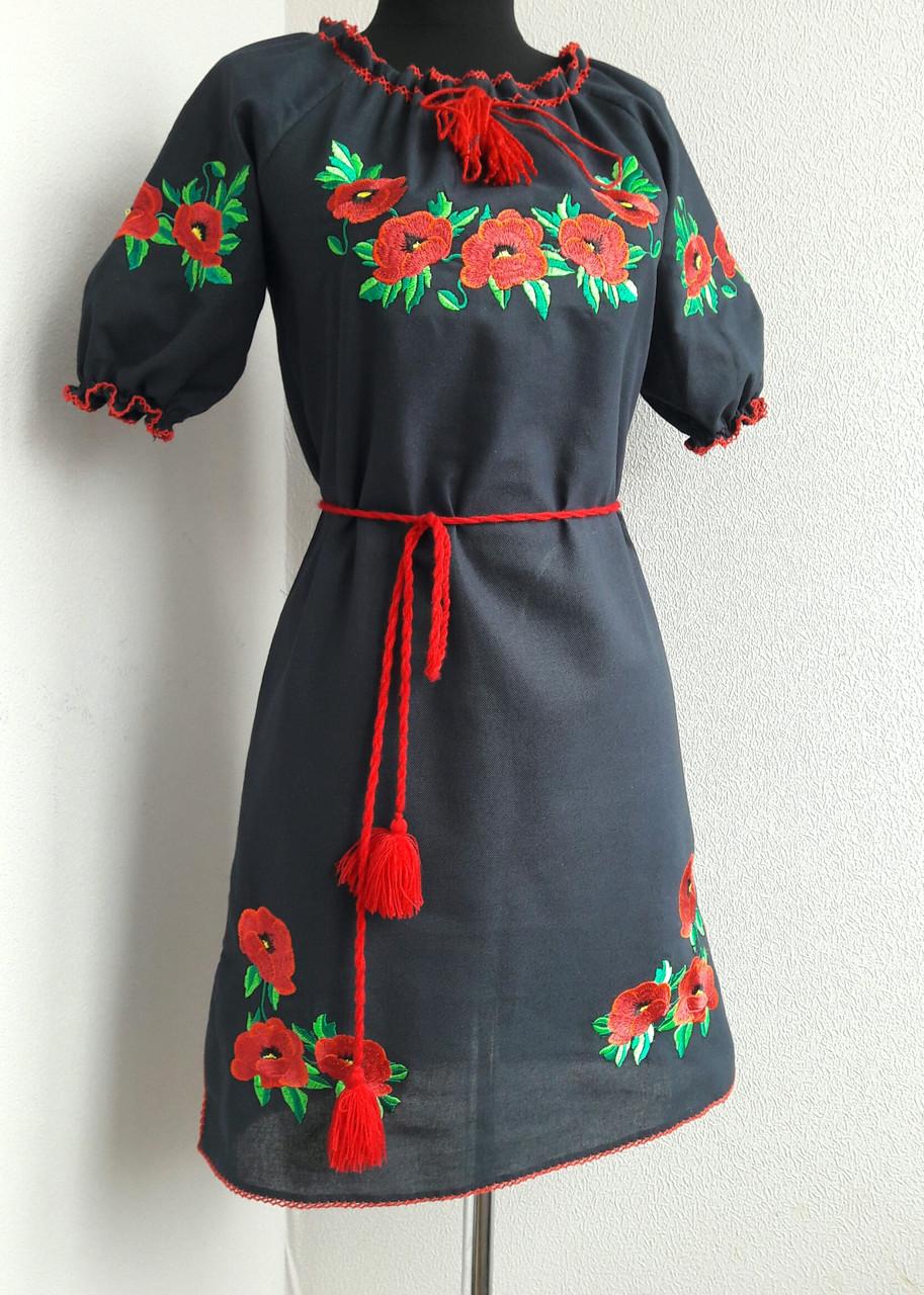Вышитое платье с коротким рукавом