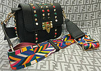 Модная женская сумка-клатч с цветной ручкой цвет черный
