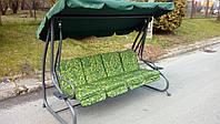 Садовая качеля - диван 4-х местная раскладная В НАЛИЧИИ 3 цвета НАЛОЖКА Зелёная