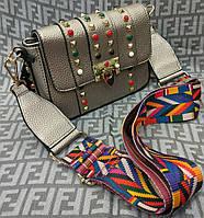 Модная женская сумка-клатч с цветной ручкой эко-кожа