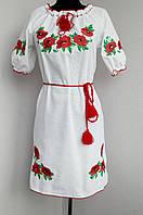 Белое платье вышитое маками