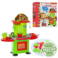 Игровая кухня для девочек MM 0077: 43х52,5х25 см, 22 предмета посуды, звук, свет