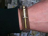 Кожаный браслет ШТЫК-НОЖ, ручная работа