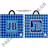 """Пакет с петлевой ручкой тип """"JB"""" Клетка синяя(39х39,5) 25 шт"""