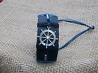 Кожаный браслет для мужчин ШТУРВАЛ, ручная работа