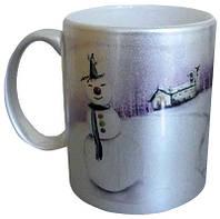 Чашка с Вашим дизайном керамическая, серебряного цвета