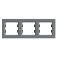 Рамка 3-х местная горизонтальная сталь Sсhneider Eleсtriс Asfora Шнайдер электрик Асфора