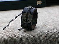 Морской кожаный браслет ЯКОРЬ 1738, ручная работа