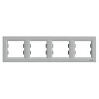 Рамка 4-х местная горизонтальная алюминий Sсhneider Eleсtriс Asfora Шнайдер электрик Асфора