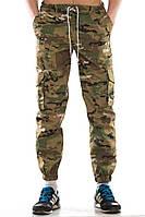 Камуфляжные штаны мужские летние YSTB Multicam, зауженные с карманами карго (с манжетами, брюки-карго, Cargo)