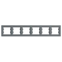 Рамка 6-ти місцева горизонтальна сталь Sсhneider Eleсtriс Asfora