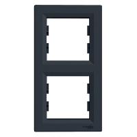 Рамка 2-х местная вертикальная антрацит Sсhneider Eleсtriс Asfora Шнайдер электрик Асфора