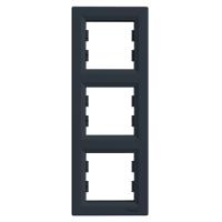 Рамка 3-х местная вертикальная антрацит Sсhneider Eleсtriс Asfora Шнайдер электрик Асфора