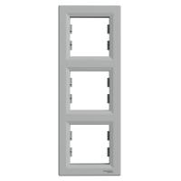 Рамка 3-х місцева вертикальна алюміній Sсhneider Eleсtriс Asfora Шнайдер електрик Асфора