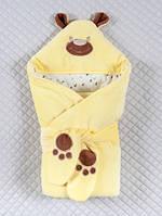 """Демисезонный конверт-одеяло """"Панда лапки"""", желтый"""