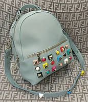 Женский модный и стильный рюкзак-сумка на плечо голубой