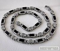 Серебряная мужская цепочка с ониксами эксклюзив