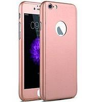 Чехол на 360 градусов для IPhone 5/5s/SE Розовый(Пудра)