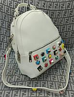 Женский модный и стильный рюкзак-сумка на плечо цвет белый