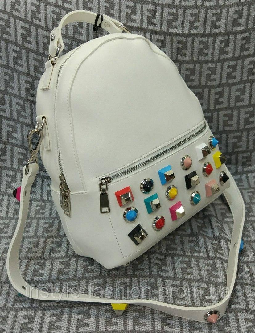 Женский модный и стильный рюкзак-сумка на плечо цвет белый, фото 1
