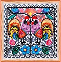 Набор для вышивки бисером на натуральном художественном холсте Два петушка