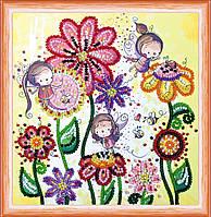 Набор для вышивки бисером на натуральном художественном холсте Цветные мотыльки