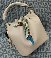 Модная женская сумка мешок 2 в 1 эко-кожа цвет пудра