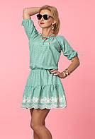 Женское летнее платье из легкого коттона мятного цвета с рюшами. Модель 984, коллекция весна-лето 2017.