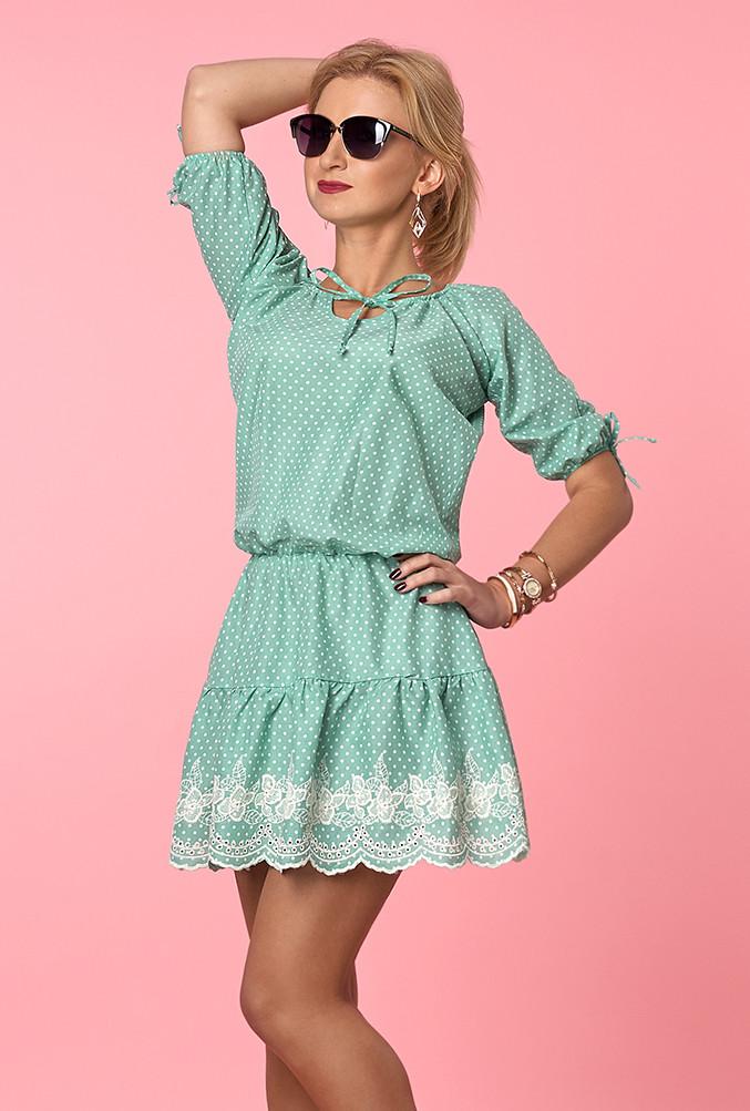 6aec75e373d Женское летнее платье из легкого коттона мятного цвета с рюшами. Модель 984  - Irse в