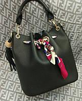 Модная женская сумка мешок 2 в 1 эко-кожа цвет черный