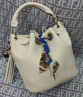 Модная женская сумка мешок 2 в 1 эко-кожа цвет молочный