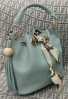 Модная женская сумка мешок 2 в 1 эко-кожа цвет голубой