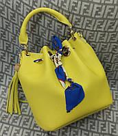 Модная женская сумка мешок 2 в 1 эко-кожа цвет желтый