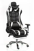 Кресло ExtremeRace footrest black/white, с подставкой для ног, компьютерное, геймерское
