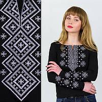 Вышиванка трикотажная женская черная Орнамент серебряный