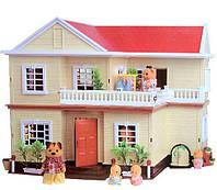 Кукольный домик Happy Family 1512, 2 этажа с лестницей, пластик, световое сопровождение