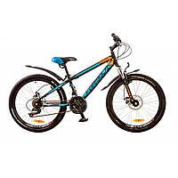 """Велосипед 24"""" Formula DAKAR AM 14G DD рама-13"""" St черно-синий с оранж. с крылом Pl 2017"""