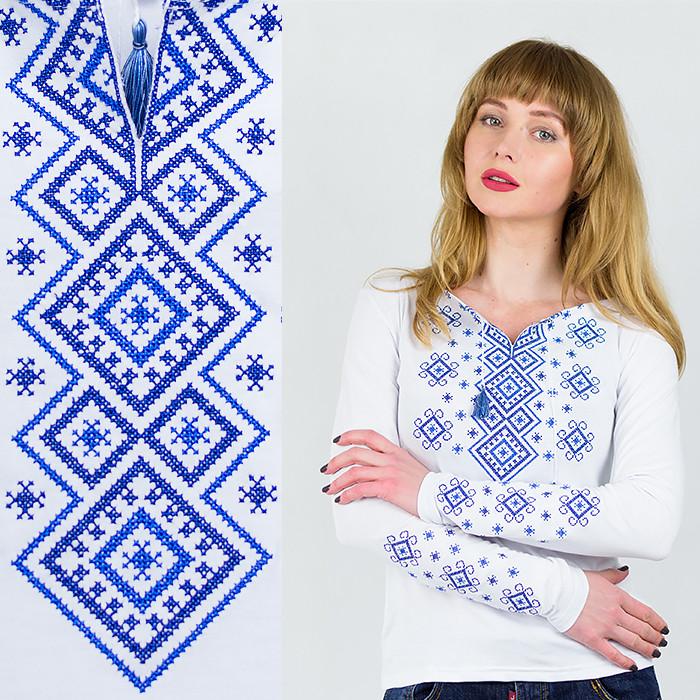 Женский лонгслив вышиванка Синий орнамент