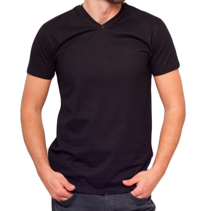 Чорна футболка чоловіча спортивна річна без малюнка трикотажна бавовна Україна