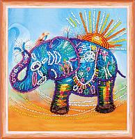 Набор для вышивки бисером на натуральном художественном холсте Неоновый слон