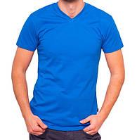Синяя футболка мужская спортивная летняя без рисунка трикотажная хб (Украина)