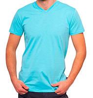 Футболка мужская спортивная летняя голубая без рисунка трикотажная хб (Украина)