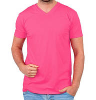 Футболка мужская спортивная летняя розовая без рисунка трикотажная хб (Украина)